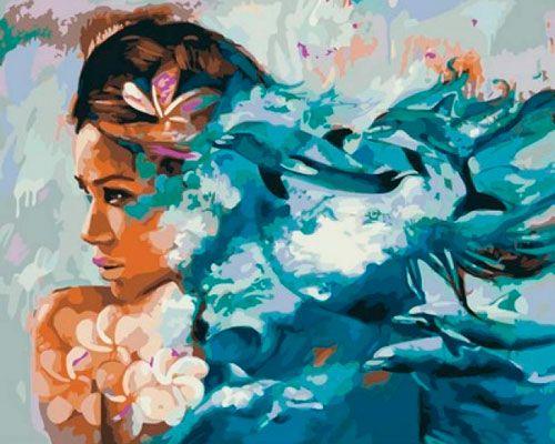 Картина по номерам 40x50 Девушка с цветами на фоне моря и дельфинов