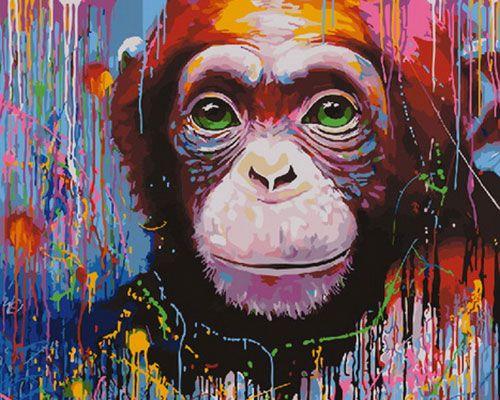 Картина по номерам 40x50 Забавный шимпанзе