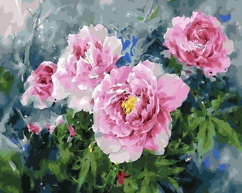 Картина по номерам 40x50 Цветущий куст ярких роз