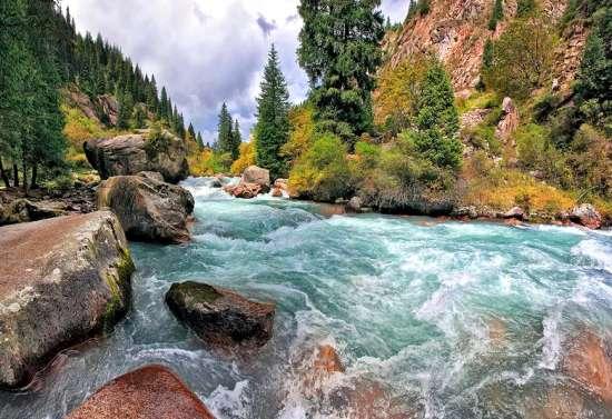 Картина по номерам 40x50 Крутые пороги на горной реке