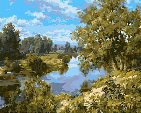 Картина по номерам 40x50 Летняя река в зелёном лесу
