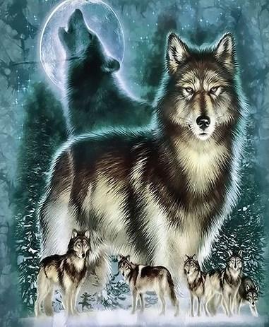 Картина по номерам 30x40 Стая волков в зимнем лесу